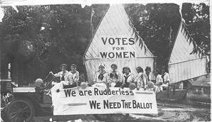 2020Feb_ICYMI_NYT; On July 4, 1912, suffragists in Oshkosh, Wis., got creative with a sailboat for their holiday parade. Credit: Wisconsin Historical Society